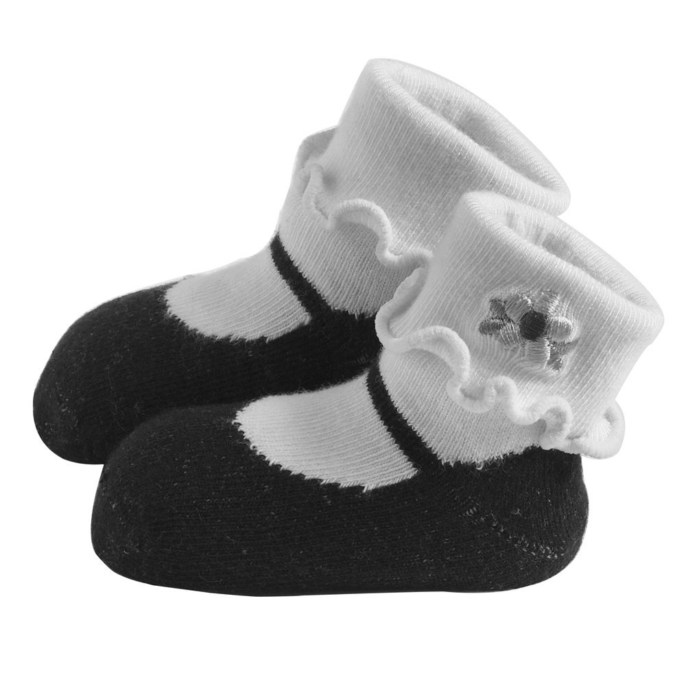 Jazzy Toes Rayon Collection Mary Janes Sock Set - Black-6-12M
