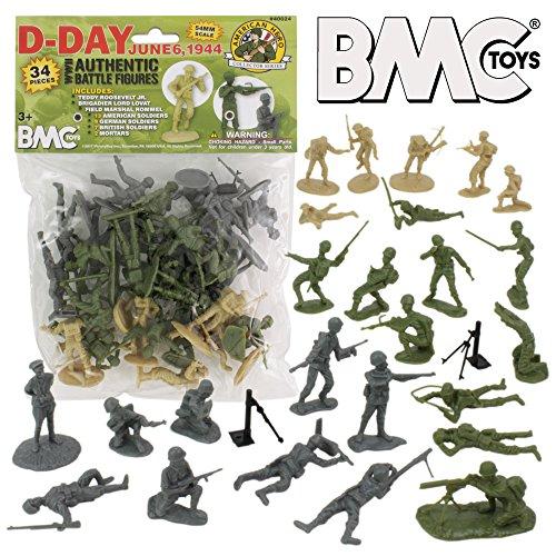 BMC WW2 D-Day Plastic Army Men - 34 American, British, German Soldier - Field Stores Roosevelt