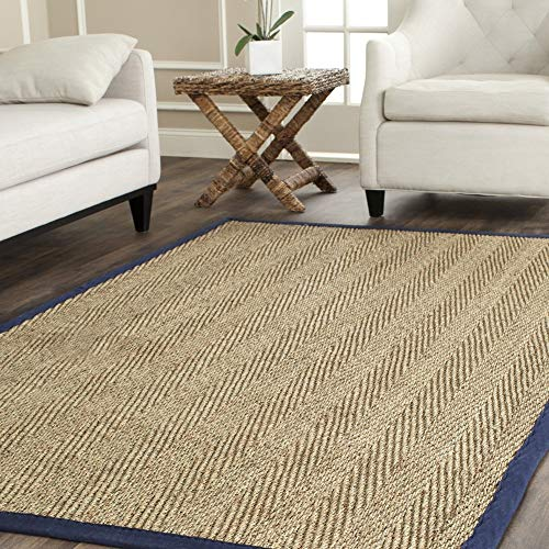 Safavieh Natural Fiber Collection NF115E Herringbone Natural and Blue Seagrass Area Rug (8' x 10') (Renewed)