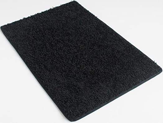Oval 5 x8 Indoor Area Rug – Blackest Black 37oz – plush textured carpet for residential or commercial use with Premium BOUND Polyester Edges.