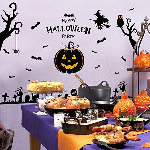 Happy Halloween Party, SUPPION PVC Festival Decor Halloween Witch Pumpkin Wall Sticker Party Home Decor-6090cm (A) -
