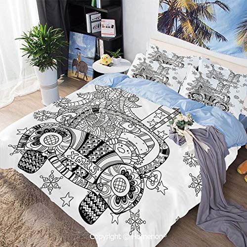 (3 Piece Set Microfiber Fabric,Abstract Car with Big Tree Ornaments Gift Box Stars Snowflakes Artsy Print,King Size,Include 1 Quilt Cover+2 Pillow case,Black and White)