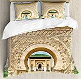 Arabian King Size Duvet Cover Set by Ambesonne, Traditional Moroccan Architecture in African Style with Carving and Flower Print, Decorative 3 Piece Bedding Set with 2 Pillow Shams, Multicolor