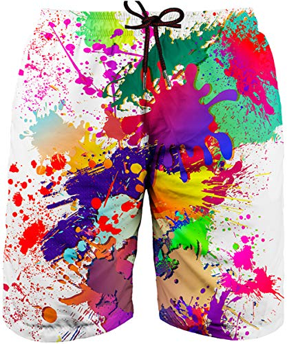 Asylvain Swim Trunks with 3D Colorful Paint Splatter Design Quick Dry Surfing Beach Board Short for Men, Small