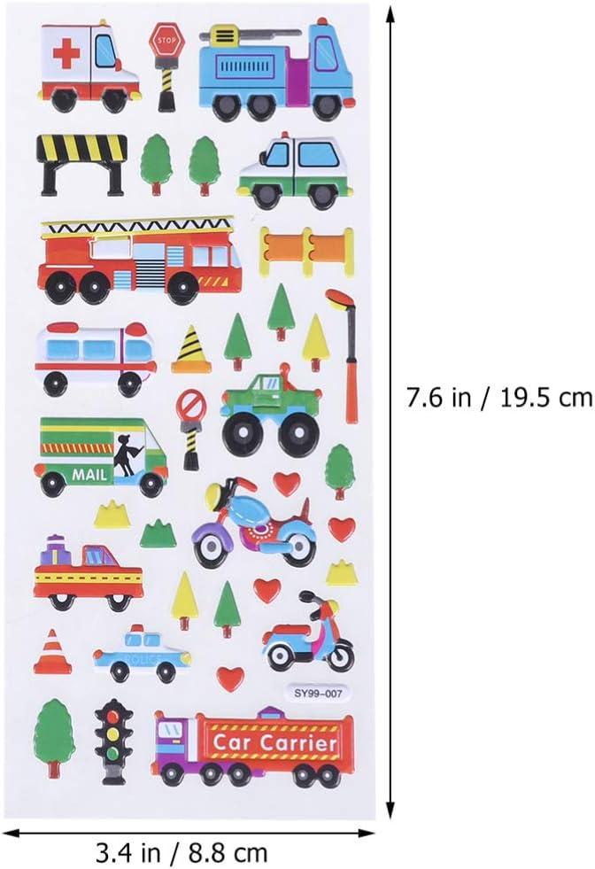 Supvox 10 Feuilles Enfants Autocollants Transport Autocollants Voitures Autocollants 3D Autocollants gonfl/és Autocollants en Vrac pour gar/çon Fille Anniversaire