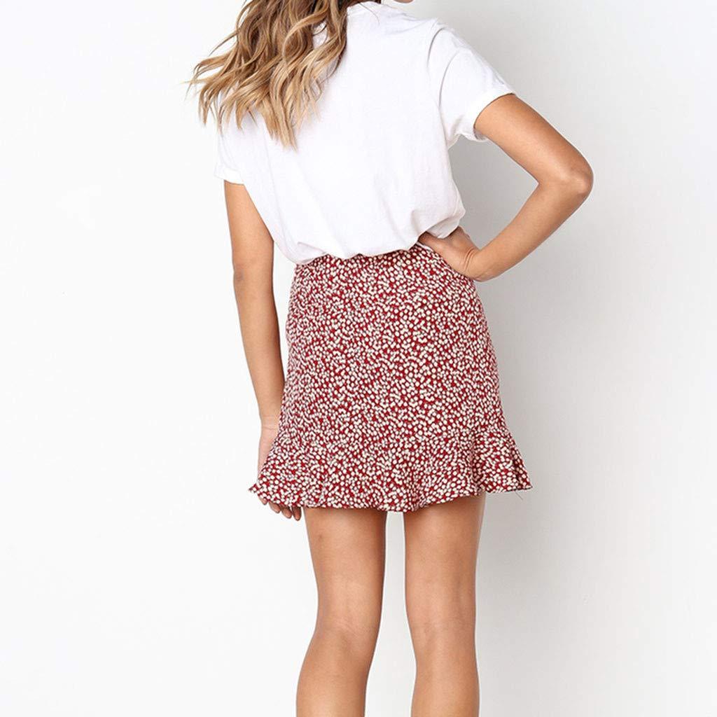 Womens Short High Waist Print Skirt Casual Retro Evening Party