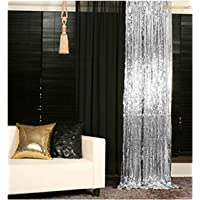 ShinyBeauty 3FTX6FT-Silver-Sequin Backdrop Photo Booth Curtain Silver Sequin Fabric Wedding/Birthday Christmas Decorations