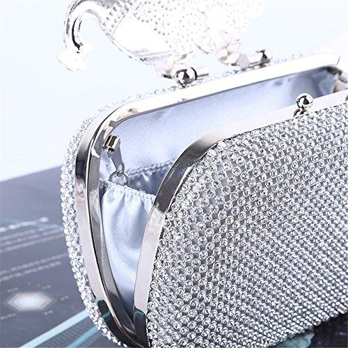pour Lovely Cristal en Unique Mariage Color Strass Silver de Les Soirée Fête Black la Sac rabbit Femmes Luxe Sac Embrayage Paon à de Main Adapté Décorer rUafwrq