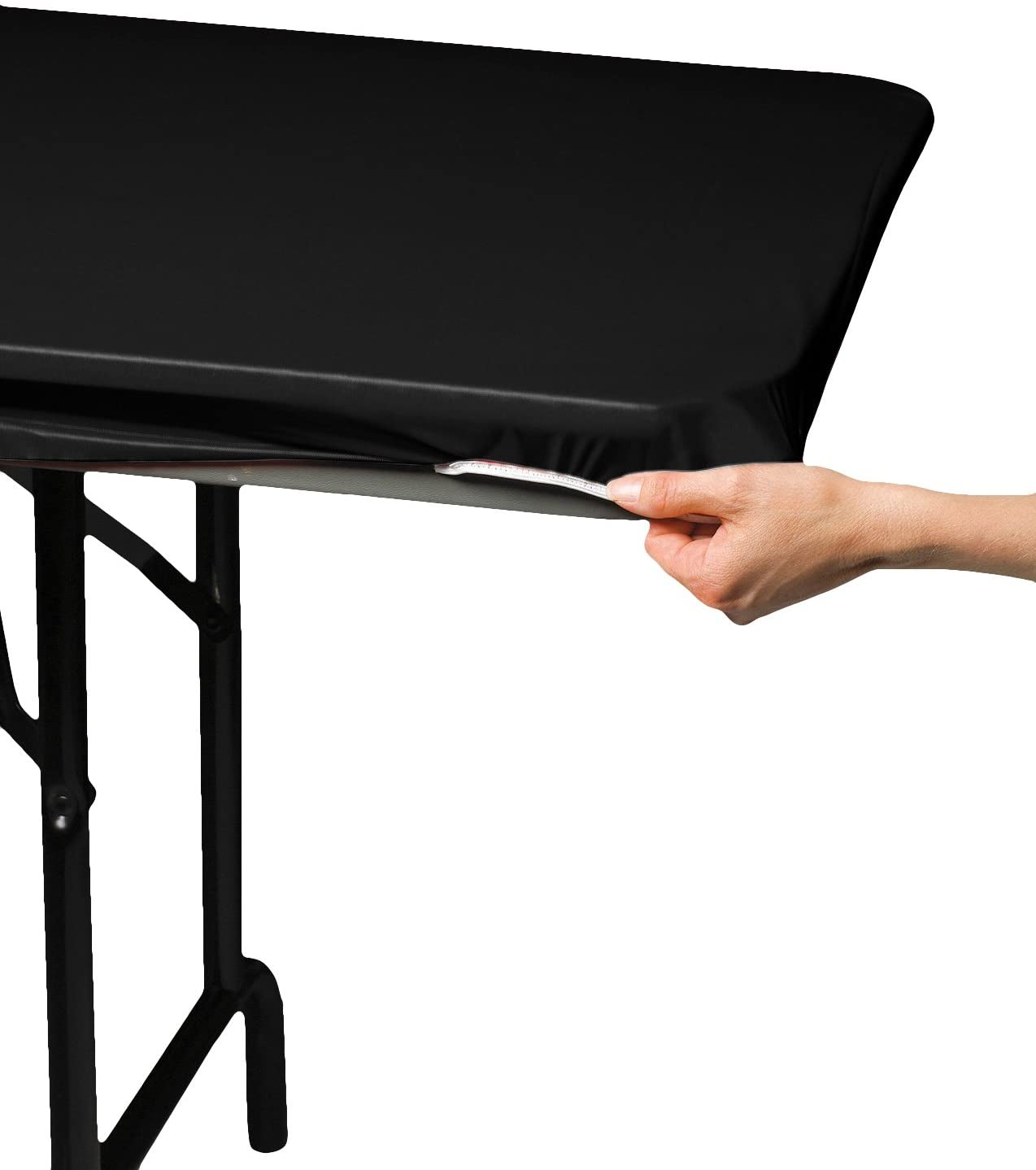 """Creative Converting 701000 Stay-Put Plastic Table Cover, 29 by 72"""", Black"""