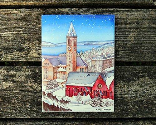 Scene Ceramic - Cornell University, Art Tile, Ceramic Tile, McGraw Tower, Snow Scene, Hot Plate, Ithaca NY, Wall Art, Trivet, Finger Lakes, Watercolor by Cheryl Chalmers