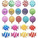 "Hraindrop 21 pcs 18"" Sweet Candy Balloons, Round Lollipop Balloon Birthday Wedding Party Balloons"