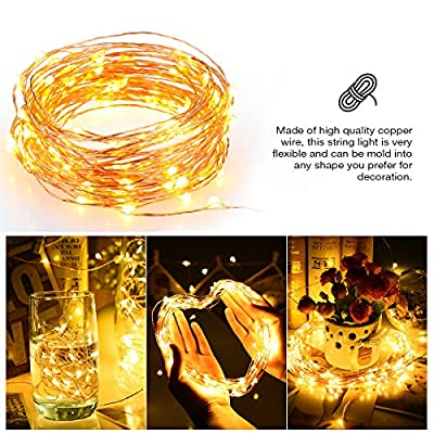 OMorc Solar Powered String Light, 150 LED 50ft Solar String Lights, Outdoor Copper Wire Lights, Ambiance Lighting for Gardens, Homes, Parties
