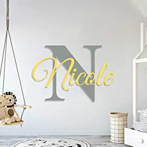 Multiple Font Custom Name & Initial Nursery Wall Decal - Mural Wall Decal Sticker for Home Children's Bedroom, Car & Laptop (OP003)