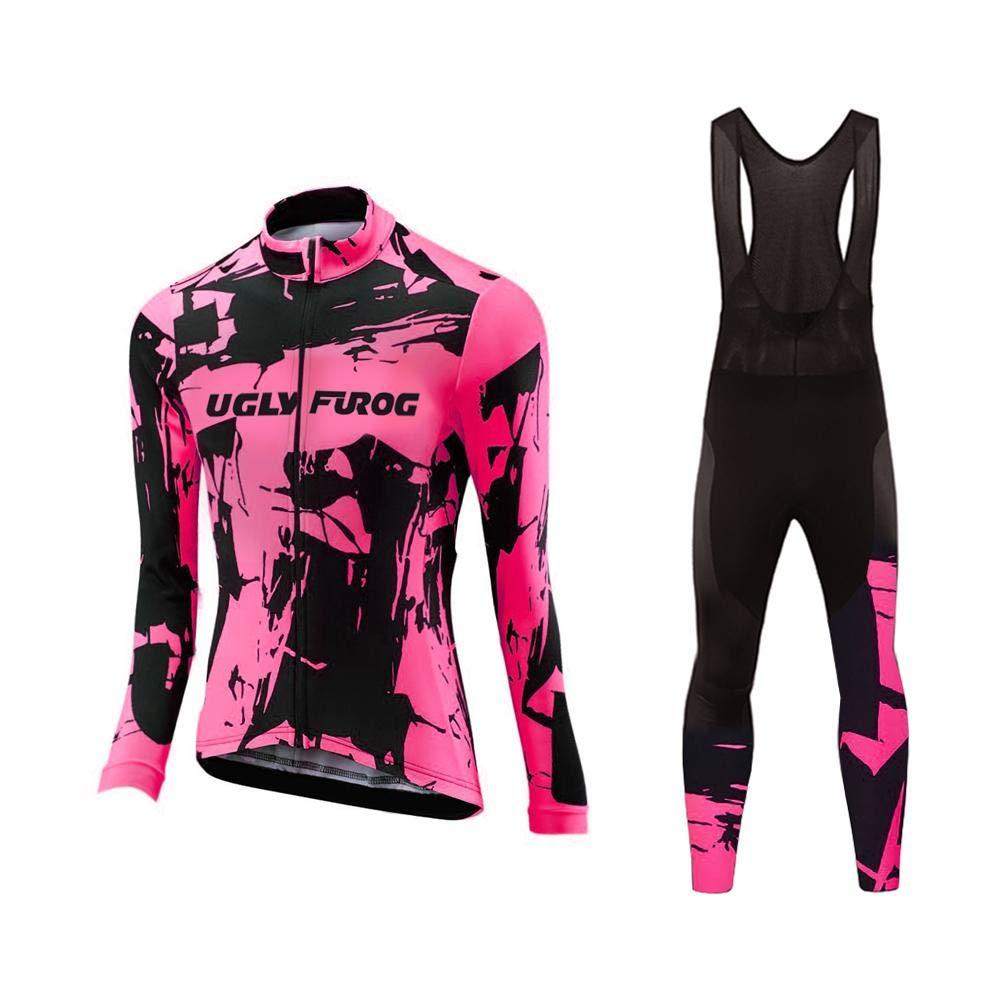Uglyfrog Bike Wear Damen Fahrradtrikot Langarm Radtrikot Pro-T/Jersey/Reißverschluss/Atmungsaktiv/Anti-Rutsch-Streifen/Reflektor Spring Style