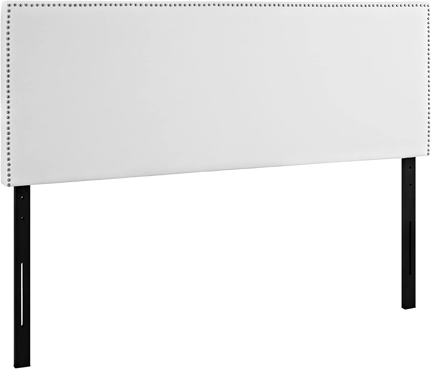 Modway Phoebe Faux Leather Upholstered Queen Headboard in White with Nailhead Trim