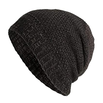 Sunny Love 2018 Unisex Warm Baggy Weave Crochet Winter Wool Knit Ski Hat  Skull Caps (Black 50791f3ae068