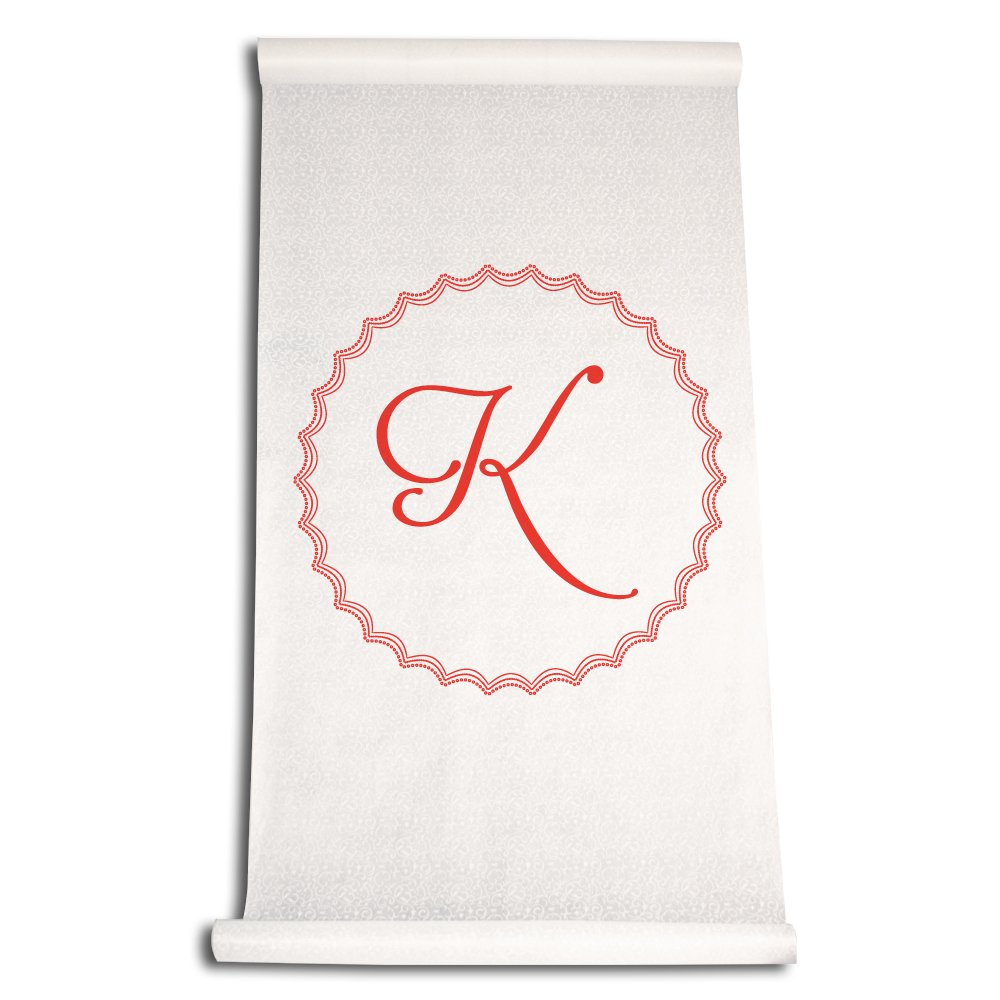 Ivy Lane Design Wedding Accessories Aisle Runner with Initial Letter K Red