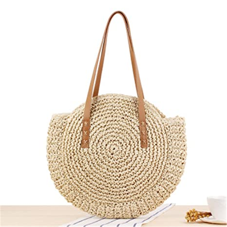 Round Straw Beach Bag Vintage Handmade Woven Shoulder Bag Raffia Circle Rattan  Bags Bohemian Summer Vacation 390becfec0575