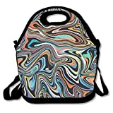 Xyou Neoprene Lunch ToteAdjustable Shoulder Strap Marble in Neon Brightful Colors Carrying Gourmet