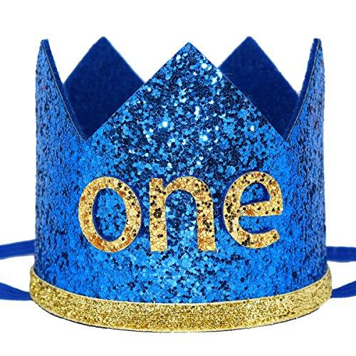 Maticr Glitter Baby Boy First Birthday Crown Number 1 Headband Little Prince Princess Cake Smash Photo Prop (Large Royal & Gold -