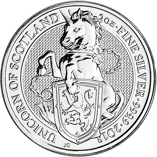 2018 UK Great Britain Silver Queen's Beast Unicorn (2 oz) 5 Pound Brilliant Uncirculated Royal Mint