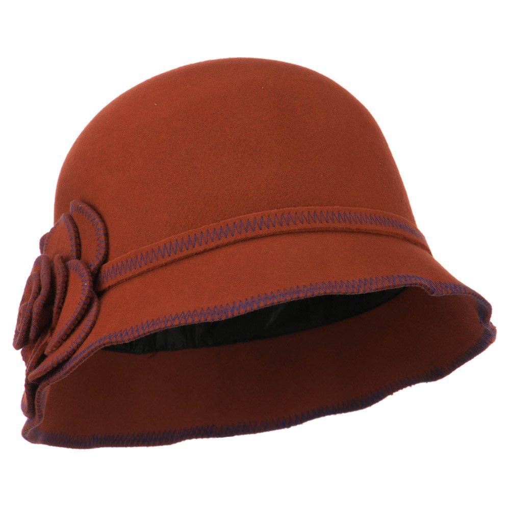 Women's Wool Felt Bucket Shape Cloche - Rust OSFM by Jeanne Simmons