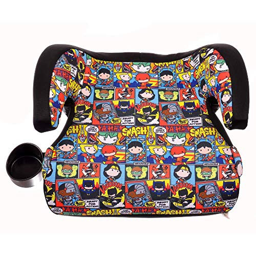 (KidsEmbrace Justice League Booster Car Seat, DC Comics Chibi Youth Backless Seat, Red)