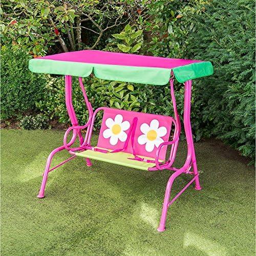 Kids Club Hamaca infantil para jardín o al aire libre, 2 plazas, diseño de flores: Amazon.es: Jardín
