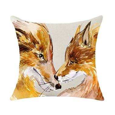 SLS Cotton Linen Decorative Throw Pillow Case Cushion Cover lion Piillow case 18 X18 fox (13)