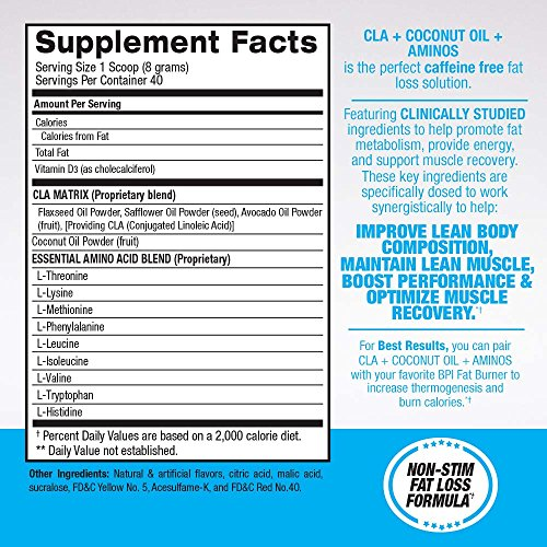BPI Health CLA Coconut Oil Aminos, Non Stimulant Fat Loss Supplement Powder, Boost Weight Loss, Maintain Lean Muscle, Tropical Breeze, 40 Servings, 11.28 Ounce