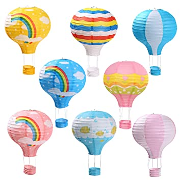 Zilue Party Hanging 12 Inches Rainbow Hot Air Balloon Paper Lanterns