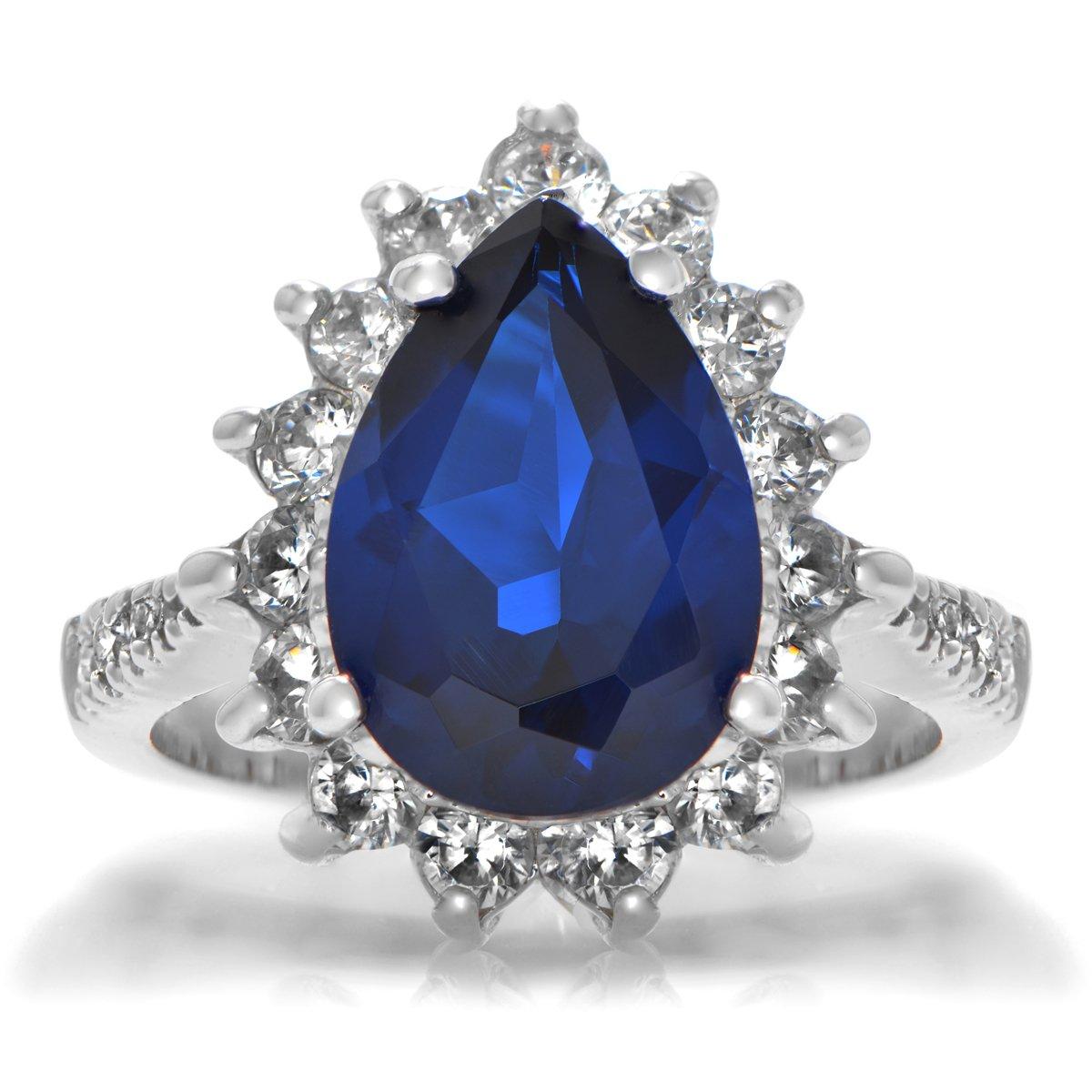 Toris Blue CZ Cocktail Ring