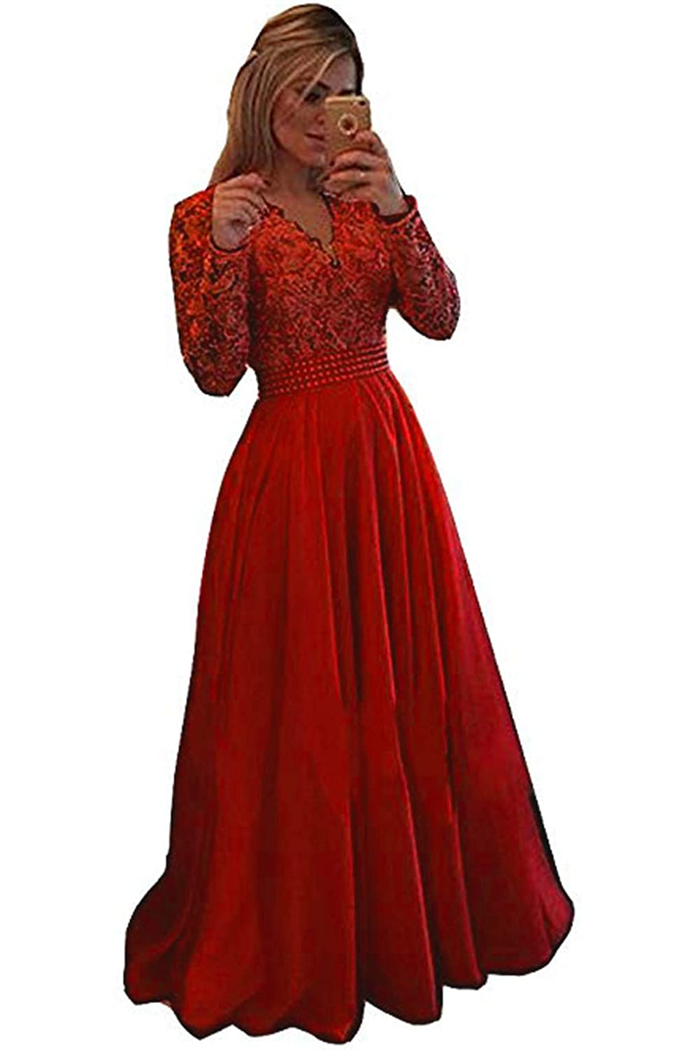 Bred Ri Yun Womens Prom Dresses Long Sleeve Lace 2018 Illusions Back Pearl VNeck Formal Evening Ball Gowns