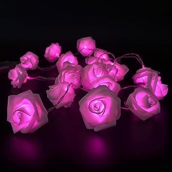 Amazoncom Fairy String Lights Pink Rose Flower LED Battery - Flower string lights for bedroom