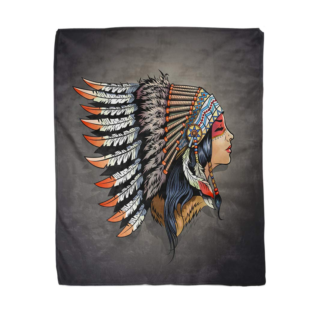 rouihot 50x60 Inches Throw Blanket Woman American Indian Girl in National Headdress Native Cherokee Warm Cozy Print Flannel Home Decor Comfortable Blanket for Couch Sofa Bed