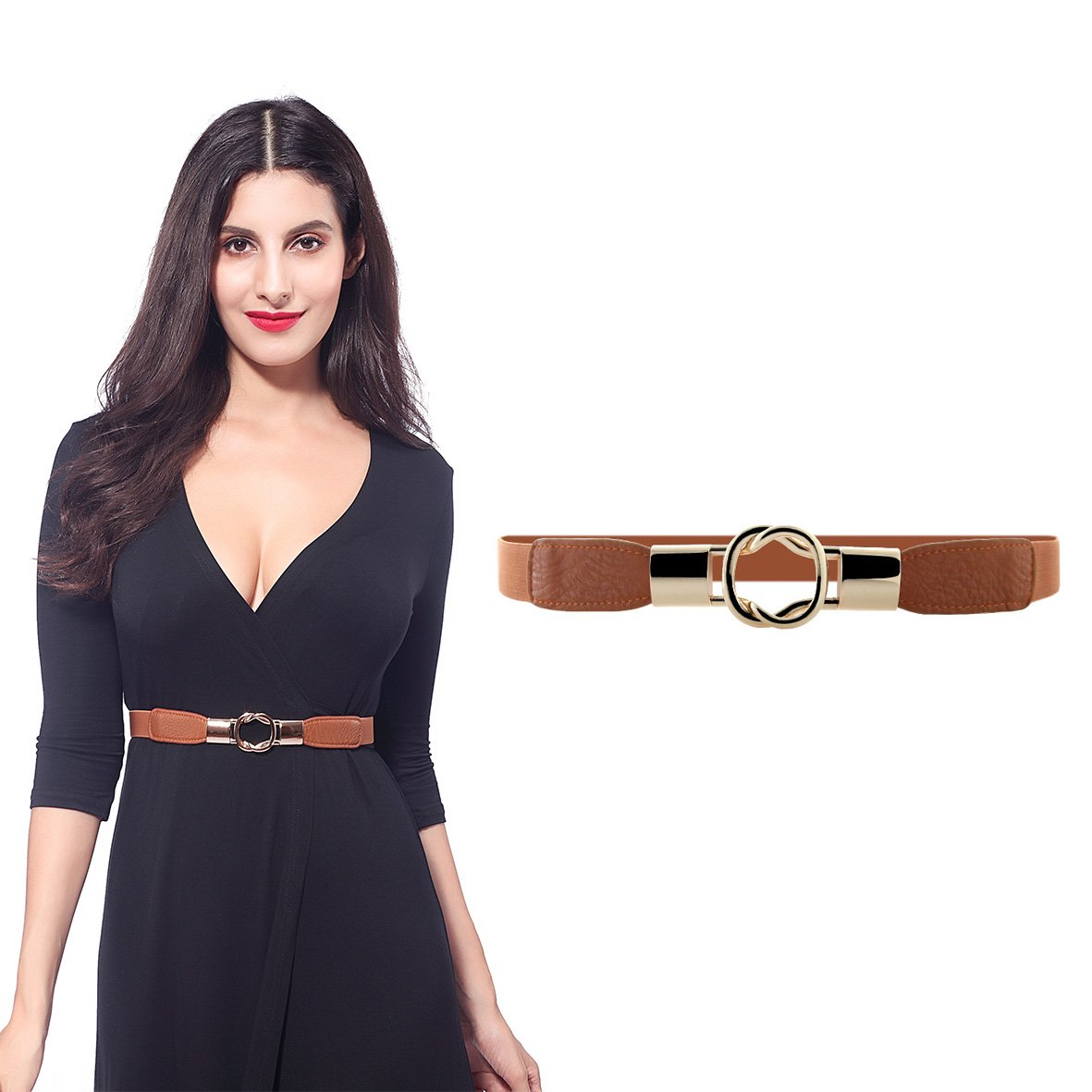 Women Metal Fashion Skinny Leather Belt Gold Elastic Buckle belt solid color