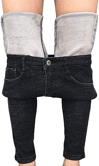 maweisong 女性ジーンズ厚いスキニーパンツフリースラインスリムストレッチ暖かいジェギング