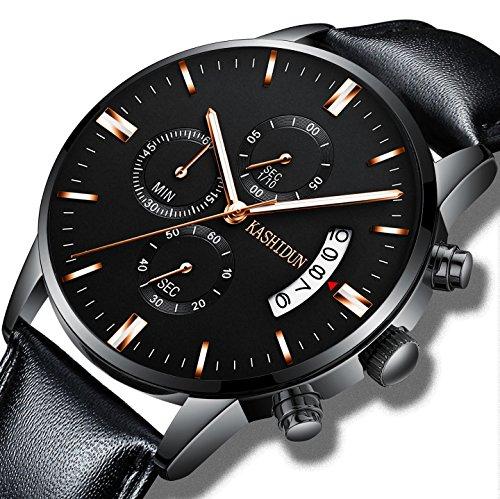 (KASHIDUN Men's Watches Luxury Sports Chronograph Waterproof Quartz Wristwatches Leather Strap Rose Gold Color)