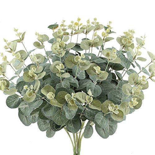 Hogado 2pcs Artificial Shrubs Fake Greenery Plants Faux Silk Leaves Bushes Home Office Wall Kitchen Table Vase Mixed Flower Centerpieces Arrangements Decor (Iron Patio Furniture Phoenix)