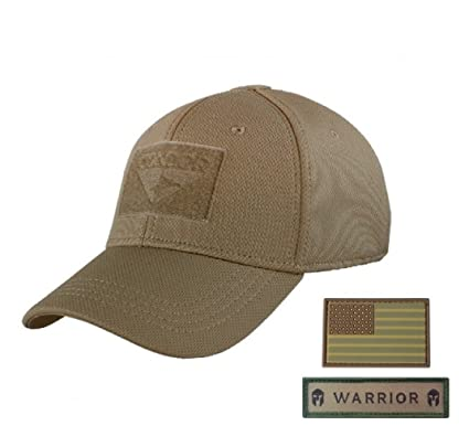 Condor Outdoor Condor Flex Tactical Cap (Brown, S/M) + Free PVC Flag Patch