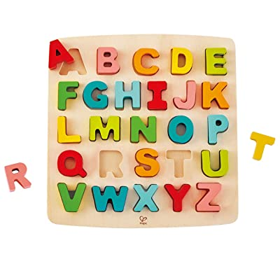 Hape Alphabet Blocks Learning Puzzle | Wooden ABC Letters Colorful Educational Puzzle Toy Board for Toddlers & Kids, Multi-Colored Jigsaw Blocks, 5'' x 2'': Toys & Games