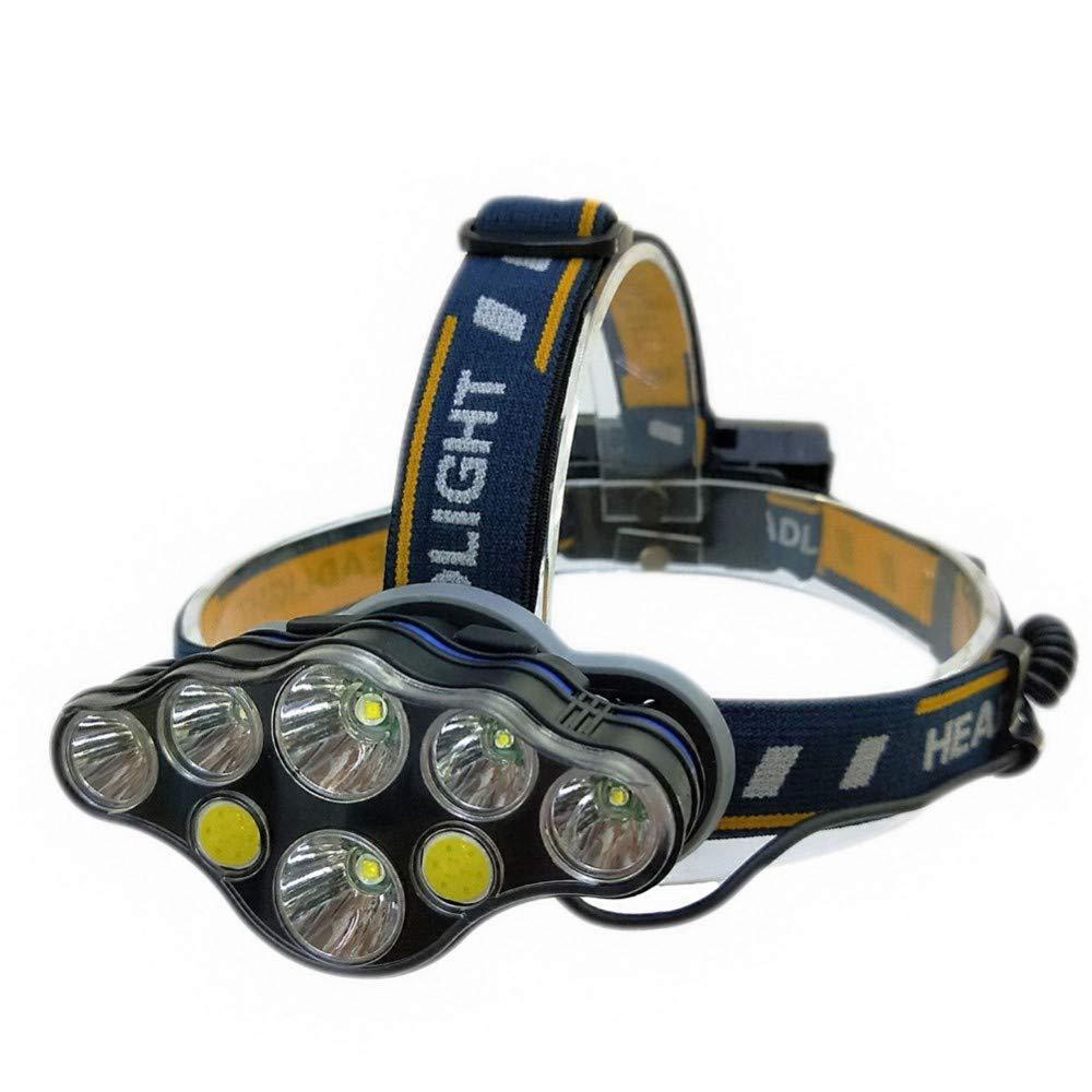 XYXYH Faros para Acampar al Aire Libre Interruptores de LED Luces de Interruptor de minero Caza de la Linterna Cargando Faros de Pesca, Faros de 7 lámparas, línea de Carga + Caja de Color