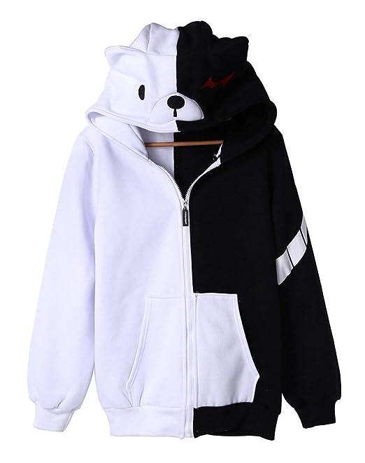 oithesky H.X Anime Dangan Ronpa Blanco y Negro Oso Cosplay Polar Sudadera Con Capucha Para Hombre: Amazon.es: Ropa y accesorios