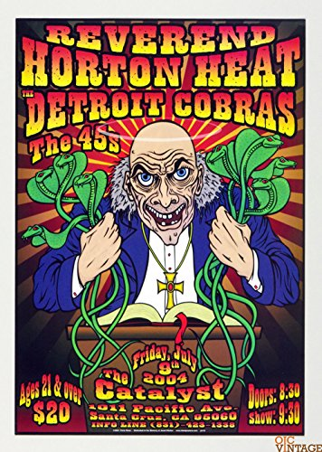 Reverend Horton Heat Detroit Cobras Poster 2004 Jul 9 The Catalyst Santa Cruz