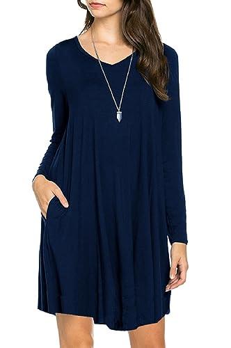 VIISHOW Women's Long Sleeve Casual Loose T-Shirt Dress