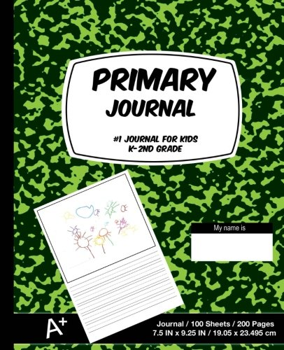 Primary Journal: Green Marble,Composition Book, draw and write journal, Unruled Top, .5 Inch Ruled Bottom Half, 100 Sheets, 7.5 in x 9.25 in, 19.05 x 23.495 cm,Soft Durable Cover