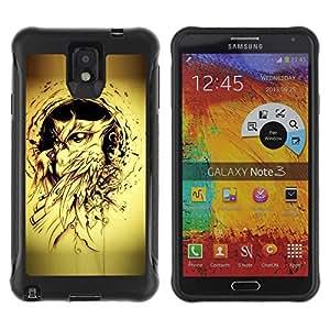 """único patrón Impacto Shock-Absorción y Anti-Arañazos Funda Carcasa Case Bumper Para SAMSUNG Galaxy Note 3 III / N9000 / N9005 , ( Pintura Búho Yellow Bird Tattoo Ink Negro"""" )"""