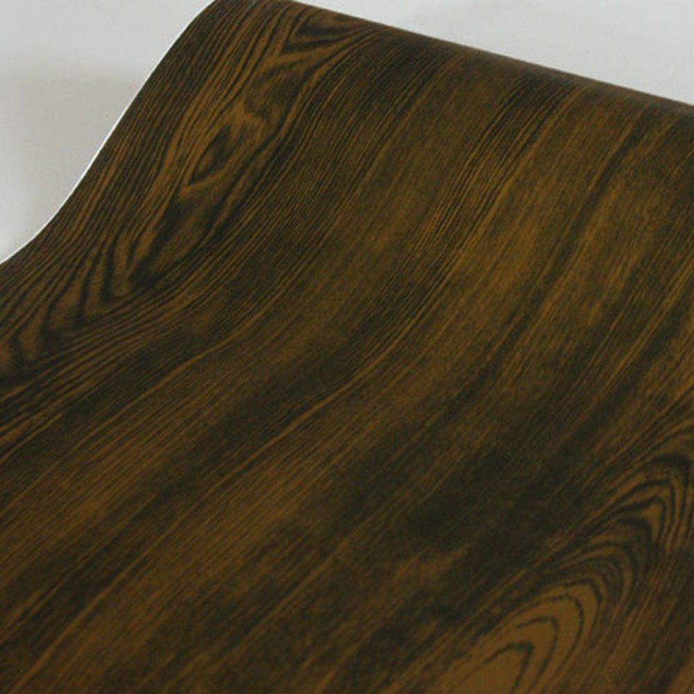 SimpleLife4U Dark Brown Walnut Wood Grain Contact Paper Self-Adhesive Shelf Liner Door Sticker 17.7 Inch by 9.8 Feet
