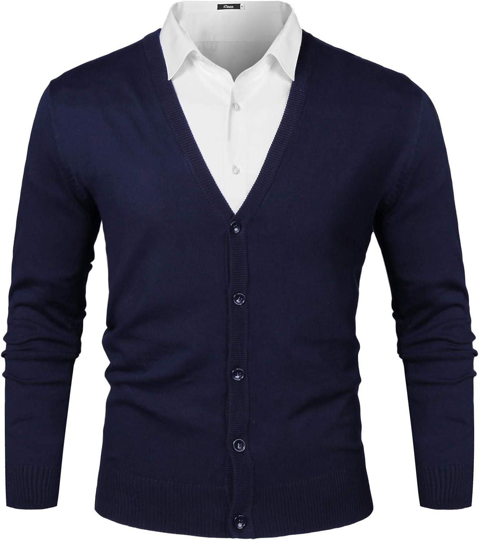 iClosam Chaqueta De Punto Sueter Hombre Cuello De Pico SóLido Color Jacket Cardigan Rebecas Hombres Invierno