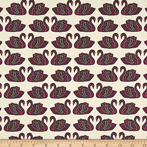 Art Gallery Fabrics 0554058 Art Gallery Tallinn Jersey Knit Baltic Swans Sand Pink Fabric by The Yard